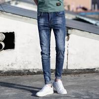 新款2018男士裤子夏季春款新品牛仔裤男小脚弹力浅蓝色男式牛潮流