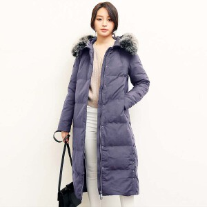 yaloo/雅鹿新款韩版正品时尚大码大毛领鸭绒外套女中长款羽绒服