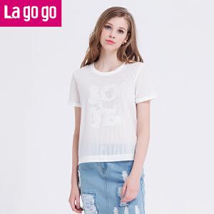 Lagogo夏新款宽松白色短袖上衣女网纱镂空女士圆领短袖夏装短款
