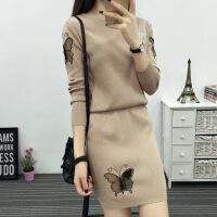 小香风套装针织连衣裙秋装2018新款时尚气质名媛毛衣短裙两件套潮