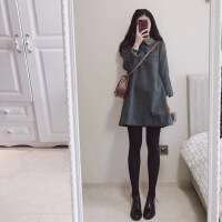 2018秋冬新款矮个子直筒连衣裙韩版名媛小香风毛呢a字打底裙子女 灰色