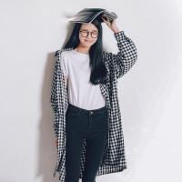 2018春季新款女装韩版学生宽松百搭港风复古格子长袖衬衫上衣 均码