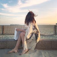 比基尼罩衫女温泉泳衣外搭裙性感蕾丝镂空海边沙滩度假防晒衣开衫 白色 均码