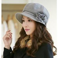 冬天女士时尚冬季韩国渔夫帽女秋冬韩版潮羊毛呢贝雷帽