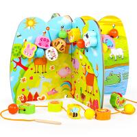 宝宝穿线串珠子智力玩具1-2-3-6岁小孩积木质男女孩婴儿童早教