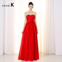 红色中长款新娘女敬酒服结婚婚礼小晚礼服进酒服裙装冬季2018新款 红色 长款K