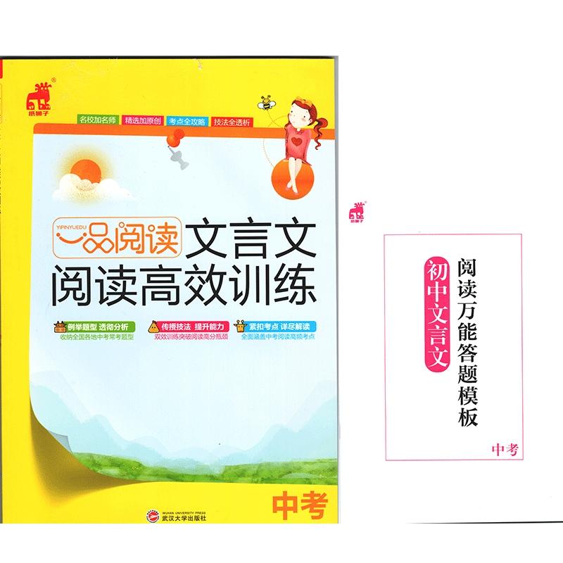 2019新版纸狮子一品阅读文言文高效训练中考武汉大学出版社编写组编写
