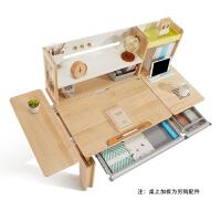 2平米 学习工场儿童学习桌椅套装 实木桦木桌 儿童书桌 120cm插杆式可升降写字桌 学生课桌