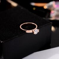 简约钛钢镀玫瑰金色食指环戒指女单钻人造仿真结婚钻戒子饰品
