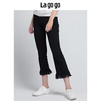 Lagogo2019秋季新款裤子黑色长裤 高腰修身显瘦时尚毛边喇叭裤女HCNN438A68