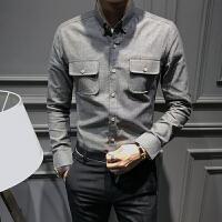 新款新品牛津纺男士修身衬衫时尚气质发型师夜店韩版口袋装饰长袖