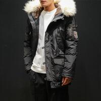 男士羽绒服中长款韩版2018新款冬季韩版毛领连帽外套潮流加厚男装