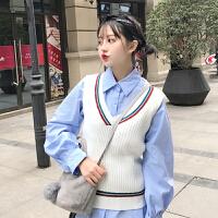 韩系软妹针织马甲两件套女港味ulzzang灯笼袖打底衬衫学院风套装