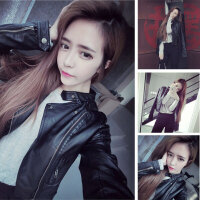 春秋装新款2018女士皮衣短款修身韩版皮夹克机车PU皮衣女大码外套 加薄棉
