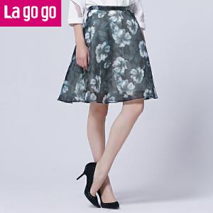 Lagogo2016春季新款高腰印花宽松网纱半裙a字裙女半身裙高腰裙子