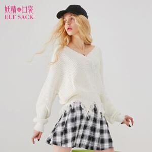 【2件3折到手价:90】妖精的口袋春秋装新款毛边内搭chic保暖毛衣短款女