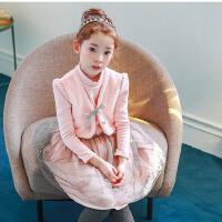 秋冬新款公主裙童装女童打底裙韩版中大童加绒加厚网纱连衣裙
