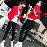 2018春秋新款韩版时尚学生跑步开衫卫衣三件套休闲运动服套装女潮
