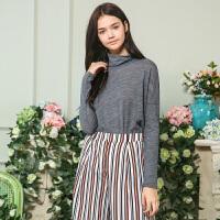 秋装新品高领绣花薄款套头针织衫羊毛衫X632187Z00