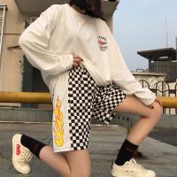韩国INS同款复古火焰印花拼接黑白棋盘格子休闲短裤