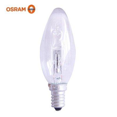 OSRAM欧司朗卤素灯泡20W/30W/E14黄光2700K 烛型透明灯泡尖泡椒泡