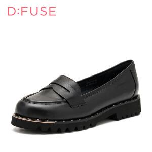 【星期六集团大牌日】D:Fuse/迪芙斯女鞋春季牛皮革圆头金属铆钉低跟平底单鞋 DF63111135