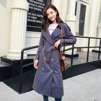 变色龙女士风衣外套女中长款韩版端庄大气 灰蓝色