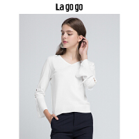 【5折价144.5】Lagogo2018秋季新款白色V领气质简约针织衫T恤女喇叭袖休闲上衣夏