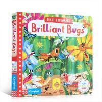 英文原版 First Explorers Brilliant Bugs 聪明的虫子 儿童启蒙推拉滑动机关活动操作纸板书