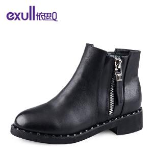 依思q冬季新款个性双拉链粗跟中跟短靴时尚铆钉女靴