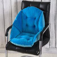 毛绒藤椅坐垫靠垫一体加厚椅垫办公室护腰靠背椅子垫子凳子屁股垫 宝蓝色 秋冬毛绒款