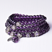 黑曜石手链紫水晶石榴石玛瑙饰品108颗多圈时尚韩版女士款礼物