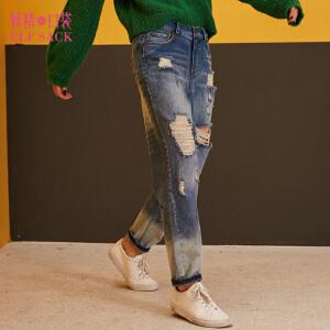 【每满200减100 上不封顶】妖精的口袋冬装新款撞色水洗破洞纯棉直筒裤牛仔裤子女