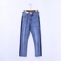 27 春季新款韩版时尚修身小脚裤女洗水磨白猫须纹潮流牛仔裤