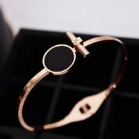 日韩版个性钛钢镀18k玫瑰金戒指女款黑色圆形食指环戒子