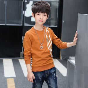 乌龟先森 儿童T恤 男童圆领长袖单色条纹套头上衣秋季韩版新款时尚休闲百搭中大童款式卫衣