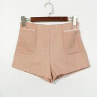 P07079女装精品新款简约隐形拉链高腰显瘦时尚粗花呢短裤两色选