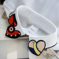 韩国彩色刺绣心形假领子女衬衫百搭假领冬季衬衣领子毛衣装饰假领上新 白色