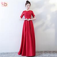 红色敬酒服新娘2018春季新款长袖合唱团演出服女结婚晚礼服裙长款