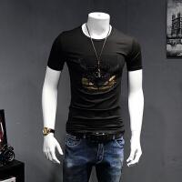 男T恤短袖夏季新潮流时尚男装烫钻小怪兽圆领男莫代尔打底半袖小衫