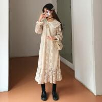 秋冬裙子娃娃领蕾丝韩版潮流宽松中长打底学生连衣裙女秋冬 均码