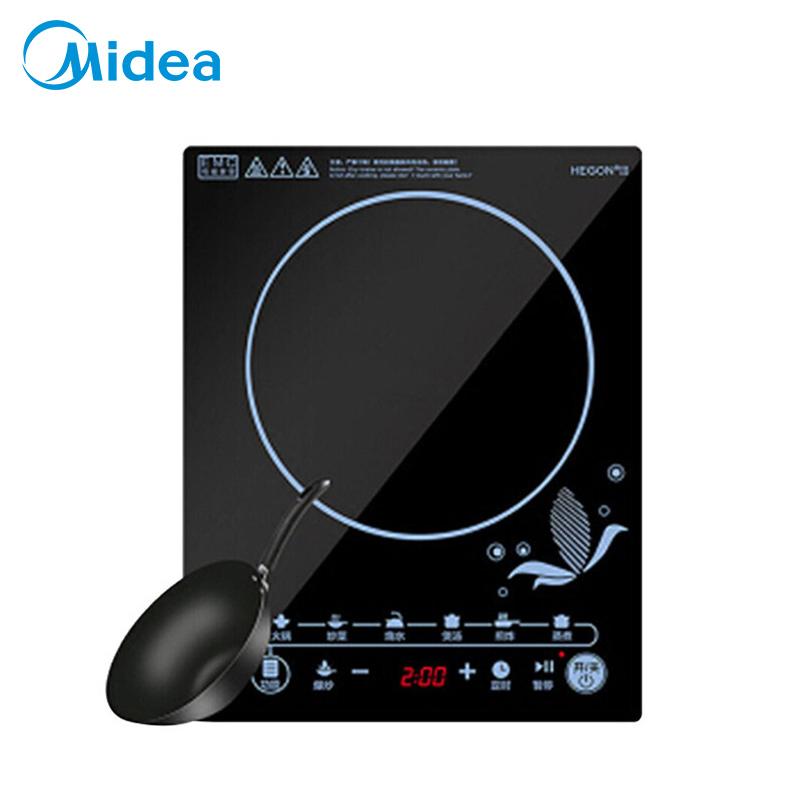 Midea/美的 电磁炉 大功率 黑晶面板 八档火力 电池炉 触控按键 定时功能 黑晶面板 C21-SN2105一体化黑晶面板,4D防水技术