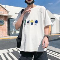 夏圆领宽松男短袖t小清新刺绣半截袖青年学院风休闲大码男T恤