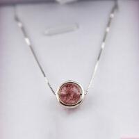 水晶草莓晶粉晶 简约银项链女锁骨链转招桃花生日礼物