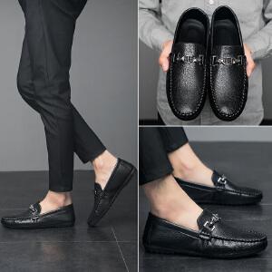 商务休闲鞋男士皮鞋百搭男鞋套脚懒人鞋2018新款豆豆鞋驾车鞋