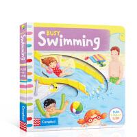 英文原版 儿童绘本 Busy系列 英文原版启蒙 Busy Swimming 纸板 机关 操作书 幼儿启蒙学习英文版 亲
