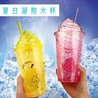 夏日碎冰杯 学生少女塑料双层制冷吸管杯水杯韩国清新塑料杯