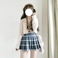 秋冬韩版学院风高腰显瘦毛呢格子百褶裙软妹百搭半身裙A字短裙子