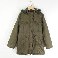 P01080女装精品冬季新款按扣拉链显瘦连帽可拆中长真毛领纯色