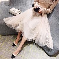 网纱半身裙2018春季新款韩版高腰百褶蕾丝长裙子女中长款a字纱裙 均码